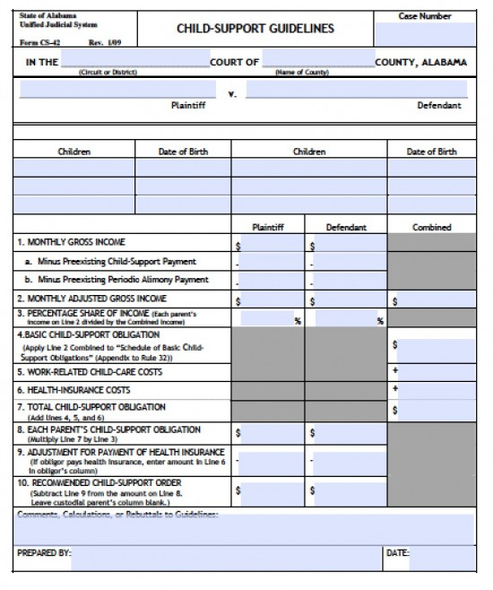 Alabama Child Support Calculator Guidelines – Child Support Guidelines Worksheet