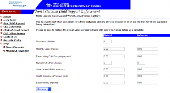 North Carolina Child Support Calculator | Guidelines | Child-Support.com