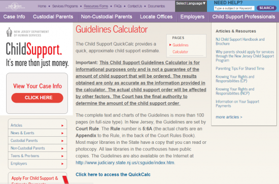New Jersey Child Support Calculator Guidelines – Nj Child Support Guidelines Worksheet