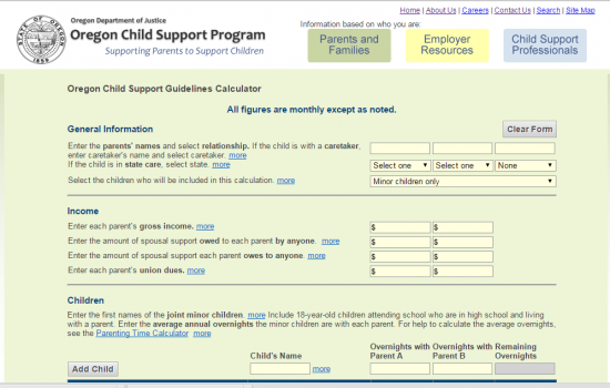 {Oregon Child Support Calculator Guidelines – Oregon Child Support Worksheet